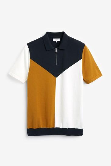 Tan/Ecru Block Premium Zip Polo