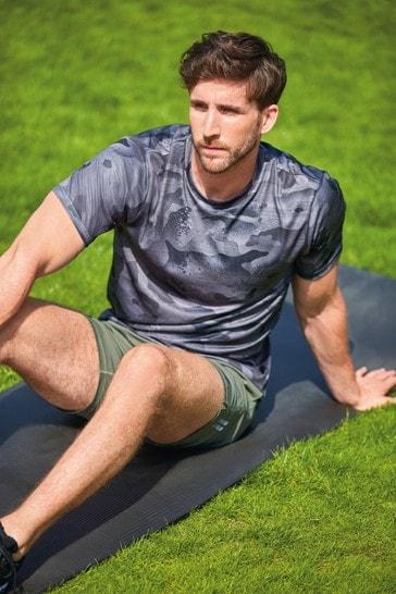 Grey Camo Print Short Sleeve Tee Next Active Sports T-Shirt