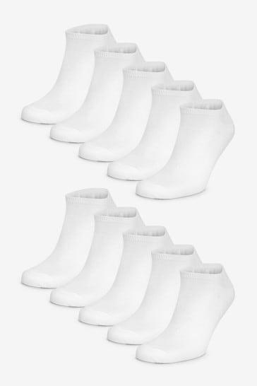 White 10 Pack Trainer Socks