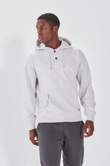 Oatmeal Button Neck Hoodie