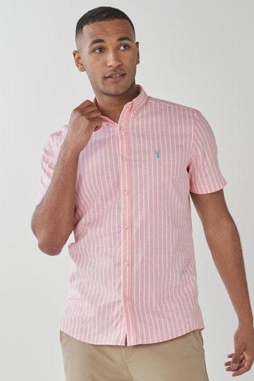 Coral Pink Stripe Slim Fit Short Sleeve Stretch Oxford Shirt