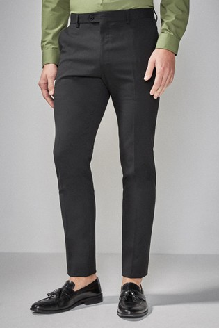 Black Skinny Fit Stretch Tonic Suit: Trousers