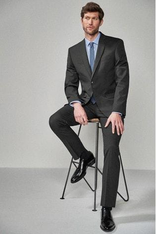 Charcoal Regular Fit Stretch Tonic Suit: Jacket