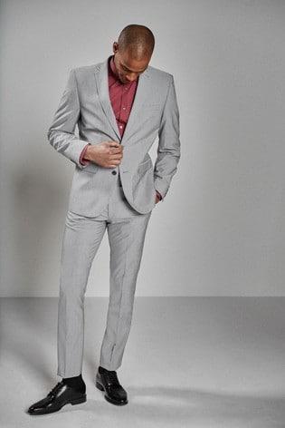 Light Grey Slim Fit Stretch Tonic Suit: Jacket