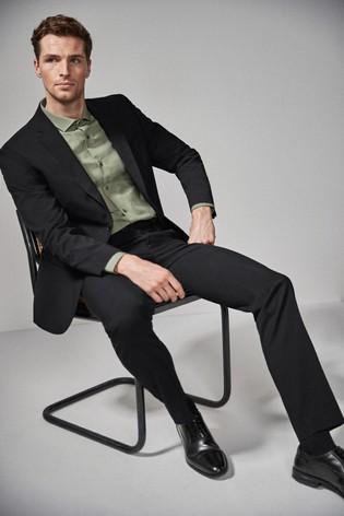 Black Regular Fit Stretch Tonic Suit: Trousers