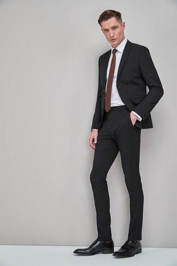 Black Super Skinny Fit Stretch Tonic Suit: Jacket