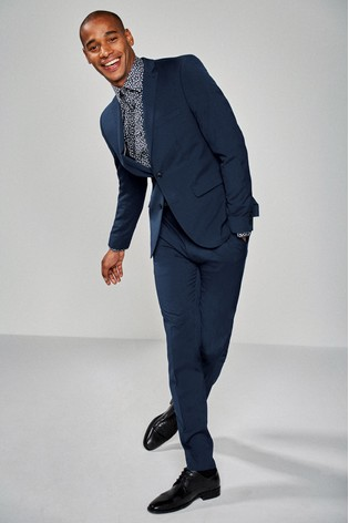 Bright Blue Skinny Fit Stretch Tonic Suit: Jacket