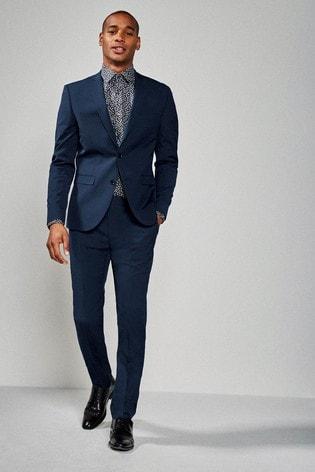 Bright Blue Slim Fit Stretch Tonic Suit: Jacket