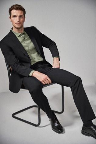 Black Regular Fit Stretch Tonic Suit: Jacket