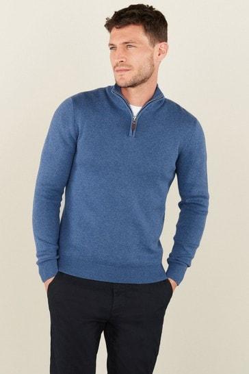 Blue Cotton Premium Zip Neck Jumper