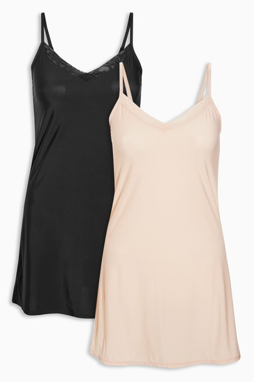 Black/Nude Soft Microfibre Slips Two Pack