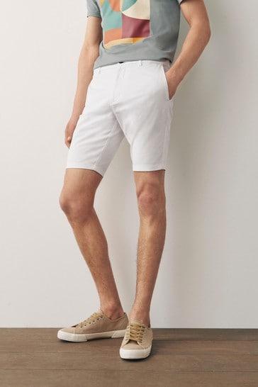 White Slim Fit Stretch Chino Shorts