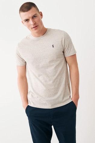 Ecru Marl Regular Fit Stag T-Shirt