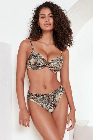 Black Paisley Shape Enhancing Bikini Top