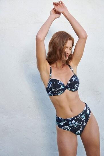 Navy Floral Shape Enhancing Bikini Top