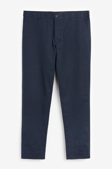 Navy Blue Slim Fit Stretch Chinos With Motion Flex Waistband