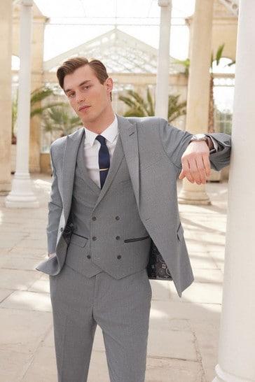 Grey Slim Fit Herringbone Suit: Jacket