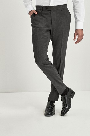 Grey Skinny Fit Stretch Marl Suit: Trousers