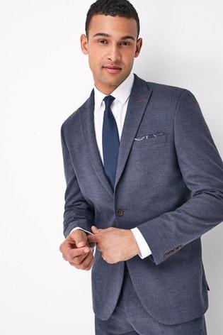 Blue Slim Fit Herringbone Suit: Jacket