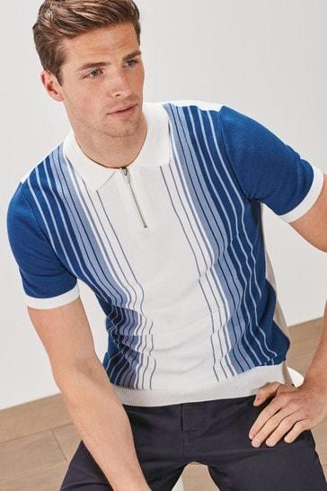 White/Blue Ombre Stripe Premium Zip Polo
