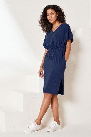 Navy Jersey Midi Dress