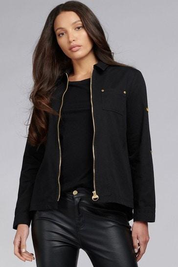 Barbour® International Black Zipped Cotton Minato Shacket