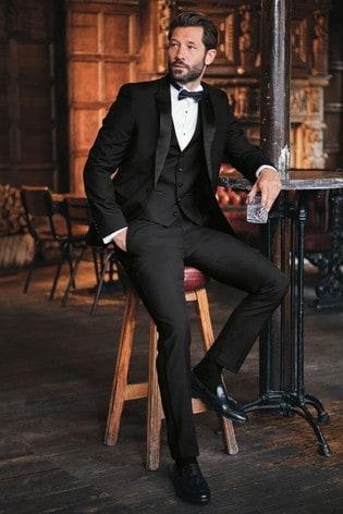 Black Regular Fit Tuxedo Suit: Jacket