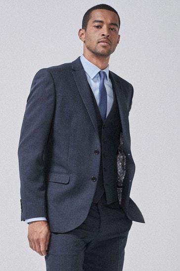 Navy/Black Regular Fit Check Suit: Jacket