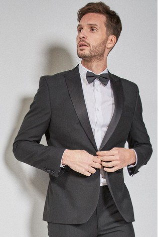 Black Skinny Fit Tuxedo Suit: Jacket