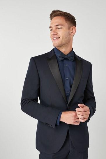Navy Slim Fit Tuxedo Suit: Jacket