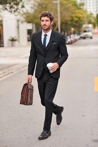 Black Slim Fit Wool Mix Textured Suit: Jacket