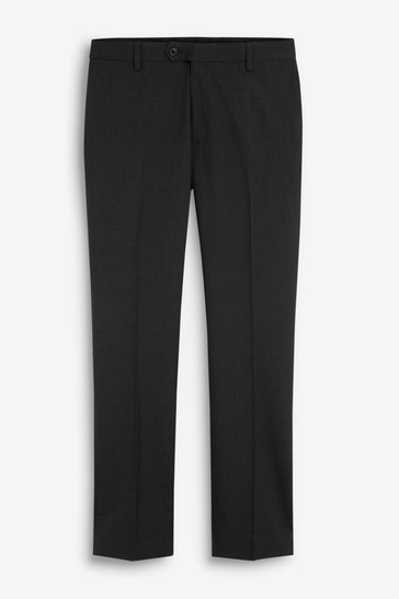 Black Slim Fit Wool Mix Textured Suit: Trousers