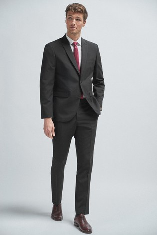 Black Tailored Fit Wool Mix Textured Suit: Jacket