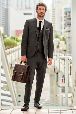 Charcoal Slim Fit Wool Mix Textured Suit: Jacket