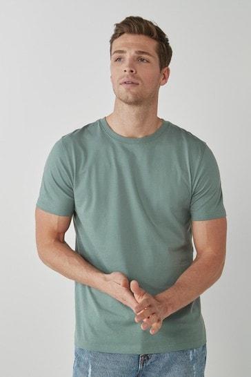 Dusky Green Regular Fit Crew Neck T-Shirt