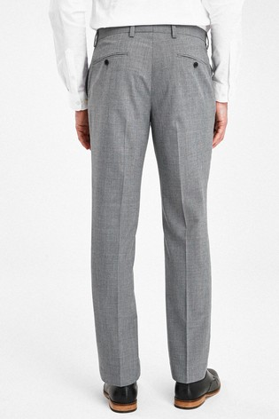 Light Grey Tailored Fit Wool Mix Textured Suit: Trousers