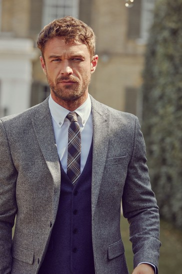 Grey Slim Fit Nova Fides Wool Blend Donegal Suit: Jacket