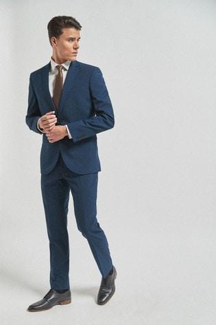 Bright Blue Slim Fit Wool Mix Textured Suit: Jacket