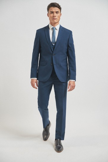 Bright Blue Tailored Fit Wool Mix Textured Suit: Jacket