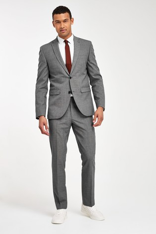 Light Grey Tailored Fit Wool Mix Textured Suit: Jacket