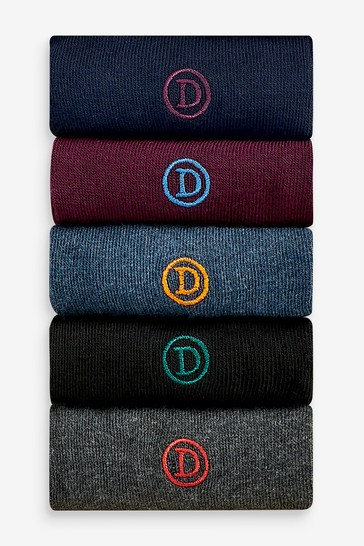 Rich 5 Pack Mens Embroidered Socks