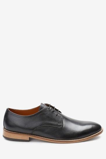 Black Regular Fit Contrast Sole Leather Derby Shoes