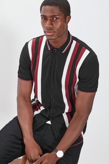 Black Block Button Through Polo Shirt
