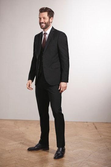 Black Regular Fit Signature Tollegno Fabric Suit: Jacket