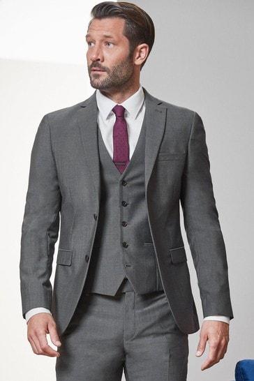 Grey Slim Fit Signature Tollegno Fabric Suit: Jacket