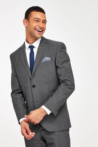Grey Regular Fit Signature Tollegno Fabric Suit: Jacket