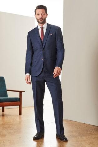 Blue Regular Fit Signature Empire Mills Fabric Flannel Suit: Jacket