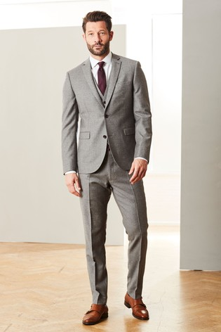 Taupe Slim Fit Signature Empire Mills Fabric Flannel Suit: Jacket