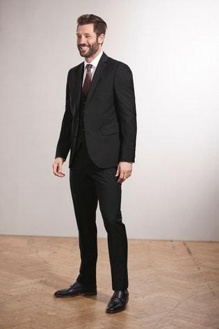 Black Slim Fit Signature Tollegno Fabric Suit: Jacket