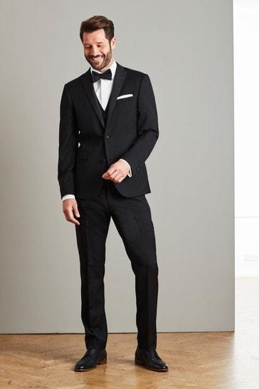 Black Slim Fit Signature Tollegno Fabric Tuxedo Suit: Jacket